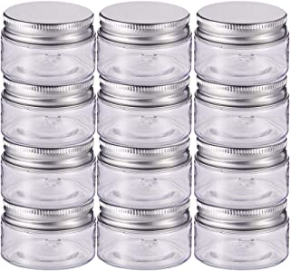 BENECREAT 12 Pack 2 Oz(60ml) Plastic Round Jars Clear Jars Containers with Aluminum Screw Lidsfor Beauty Products, Househ...