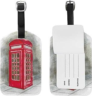 Acuarela Vintage London Red Cabina telefónica Etiquetas de Equipaje Lindas Cuero de PU Impresión de Doble Cara Bolsa de Viaje Identificadores de Maletas