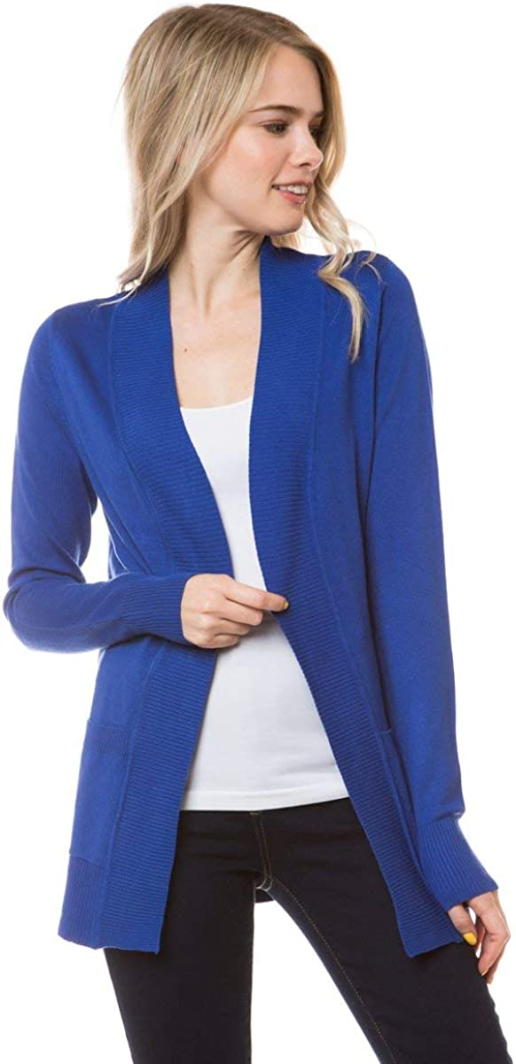 TrendyOOTD Women's Open Front Long Sleeve Classic Knit Cardigan
