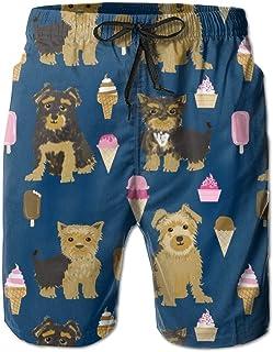 Lixinli Men's Yorkshire Terrier and Ice Cream Drawstrings Beach Shorts