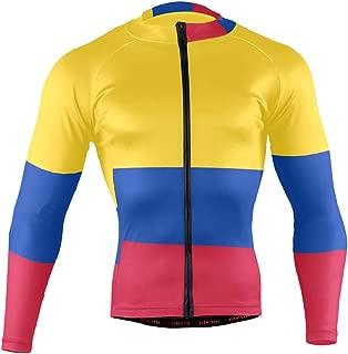 Colombia Flag Men's Cycling Jersey Long Sleeve Bike Jacket Biking Bicycle Jersey Shirt