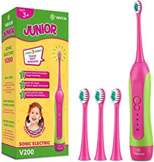 Sonic Rechargeable Kids Electric Toothbrush- 3 Modes Featured Pressure Sensor, Advanced Magnetic Levitation Motor Tech for Comfortable & Easy Cleaning, 31000 Strokes, 2-Min Timer, 4 Soft Bristles