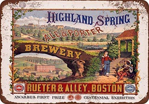 SIGNCHAT 1877 Highland Lente Brouwerij Ale en Porter Bier Vintage Look Reproductie Metalen Tin Teken 8x12 inch