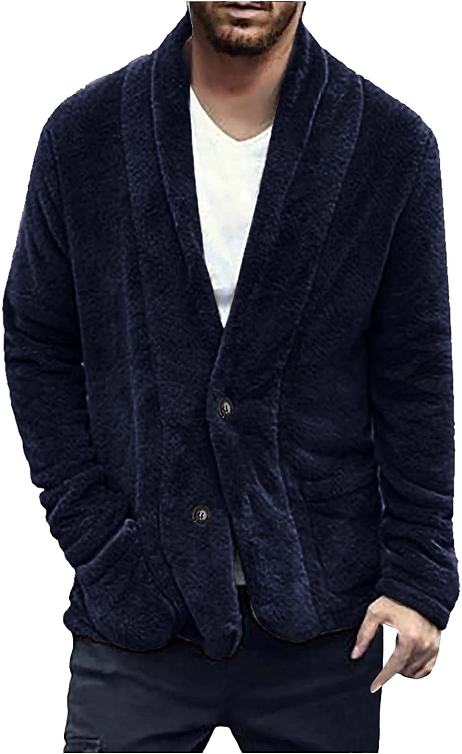 Mens Furry Cardigan Jacket Tops Double-sided Warm Plush Button Cardigan Jackets