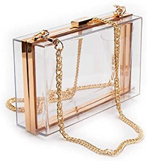 Women Acrylic Clear Clutch Transparent Crossbody Purse Evening Bag Ladies Gift Ideal Transparent See Through Box Crossbody Bag(Quite Small)