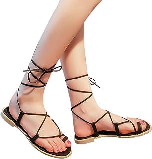 Sandalias de tiras cruzadas para mujer, zapatos planos con tiras NDGDA