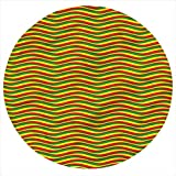 LCGGDB Rasta Flannel Throw Blanket,Ethiopian Wavy Stripes Printed Soft Receiving Blanket Baby Shower Swaddle Blanket for Crib or Stroller, Round 31.5 Inches