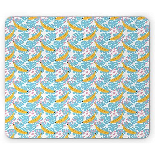 Tropische muis pad, Monstera laat bananen verf vlekken in pastel kleuren zomer vibes, muismat ky mosterd blush