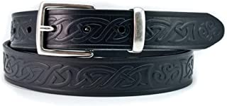 30mm Genuine Black Leather Belt with a Celtic Design