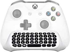 Megadream Xbox One Wireless Chatpad Keyboard with 3.5mm Audio Jack for Microsoft Xbox One & Xbox One Slim Controller, PC – 2.4G USB Receiver & Charge Cable Included - White