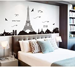 Pegatina de pared vinilo adhesivo decorativo para cuartos, dormitorio,cocina, ... vista de Paris Torre Eiffel Color Negro OPEN BUY