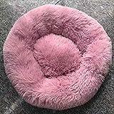 GUIO Le chenil pour lit en Peluche Dog est Doux et Moelleux, Convient aux Petits, Moyens et Grands Chiens, Rose Clair, diamètre M 60 cm