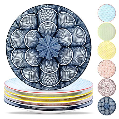 Lareina Porcelain Dinner Plates Set of 6 105 Inch DiameterBeautiful Patterns Large Multicolor Decorative Ceramic Serving Dishes for KitchenVersatile Microwavable and Stackable Multicolor
