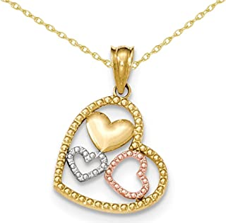 Textured Triple Heart Pendant Necklace in 14K Yellow and White Gold with Chain