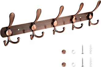 Coat Rack Wall Mounted,CPANION Coat Hooks/Rail Hook Antique Copper Stainless Steel 5 Tri Hooks for Hat Purse Key Bag Kitchen Bathroom Bedroom Entryway