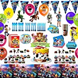 Toy story 4 Birthday Party Supplies Pack 143pcs set Includes toy story Happy Birthday Banner,Hanging Swirl,invitation,goodie bags,Tablecover,Plates,Knives,Spoons,Forks,foil Balloons,Tablecover,cupcake toppers,For toy story 4 Party Decoration