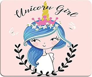 Unicorn Girl Mouse Pad Adorable Children Cartoon Cute Unicorn Girl Beautiful Cool Fantasy Dreamer Mouse Mat Anti-Slip Rubb...