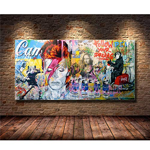 Cuadro En Lienzo,Gorilla Mona Lisa Mezclado Pintura En Tela Graffiti Replica Banksy...
