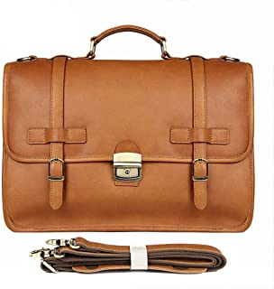 Men's Briefcase Exquisite Briefcase Men's Leather Business Bag Crazy Horse Leather Briefcase (Color : Yellow, Size : L)