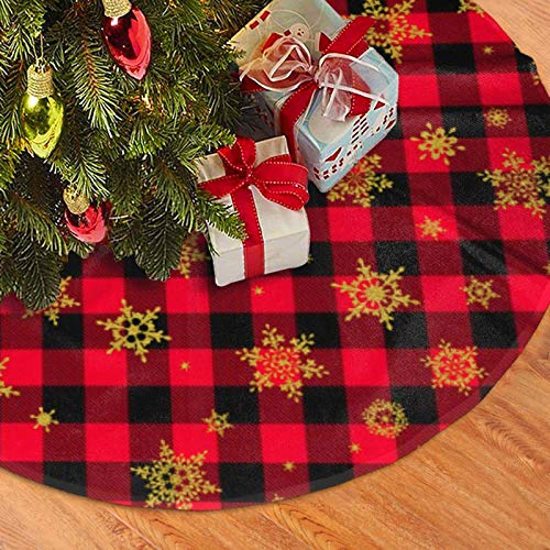Red Black Plaid Christmas Tree Skirt Gold Snowflake Xmas Tree Mat Buffalo Checked Tree Skirt for Christmas New Year Holiday Party Ornaments Decoration 48 inches