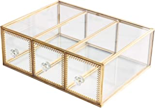 Antique Beauty Display Jewelry Case Holder Clear Glass 3 Drawers Palette Organizer, Cosmetic Storage, Makeup Container 3 Cube Holder/Beauty Dresser Vanity Cabinet Decorative Keepsake Box