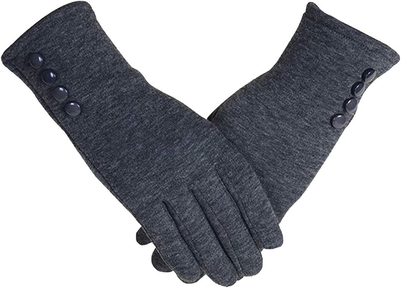 Fishoneion Women's Thick Warm Gary Deerskin Velvet Winter Touches Screen Gloves