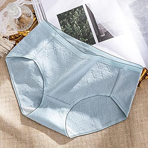Fuduoduo Ropa Interior Femenina Sexy Bragas Abiertas,Cintura de algodón para Mujer y Ropa Interior sin Rastro 4PZS-Azul Claro_L (50-60) kg,Bragas Clásicas Básicas Mujer