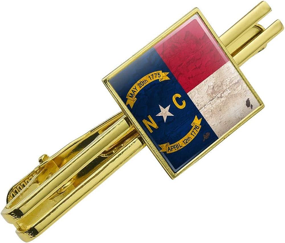 GRAPHICS & MORE Rustic North Carolina State Flag Distressed USA Square Tie Bar Clip Clasp Tack Gold Color