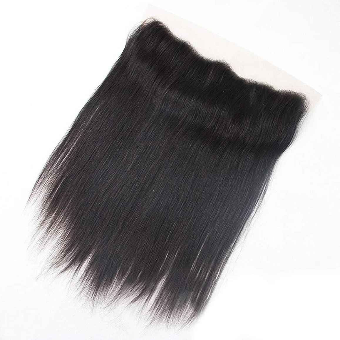 時制時計助言HOHYLLYA 女性の人間の髪の毛ストレート13x4レース前頭閉鎖ナチュラルカラー8インチ-20インチロングストレートヘアウィッグ (色 : 黒, サイズ : 14 inch)