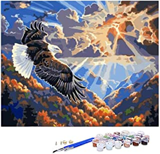 GIEAAO Acrylic Paint by Numbers for Adults Eagle Bird, DIY Oil Painting Kit Animal Canvas Pictures Drawing Paintwork with ...