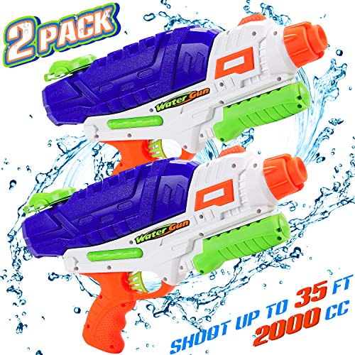 Water Gun for Kids 2 Pack, 2000CC High Capacity Super Squirt Guns 35ft Long Range Water Gun Soaker Powerful Water Pistol for Summer Water Fighting Toy Outdoor Pool Beach Yard Boys Girls Adults