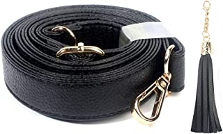 Purse Strap Replacement - Adjustable Grain Leather for Crossbody Bag or Handbag - 30 Inch- 55 Inch Long, 0.8 Inch Wide, Gold Clasp, Black, by Beaulegan