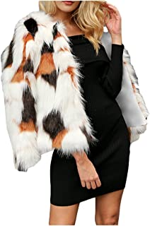 Women's Thick Faux Fur Jacket Outwear Winter Color Block Long Sleeve Coat Cardigan Outerwear Party Club