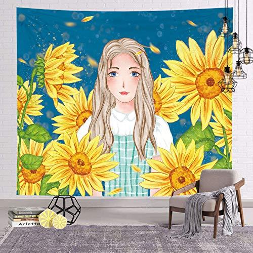 asdas Tapestry,Mandala Impression Art India 3D Printing Sunflower Girl Polyester Ocean Decoration Wave Picnic Blanket Dormitory Living Room Bedroom Study Room Window Wall,Sunflower Girl,200150Cm