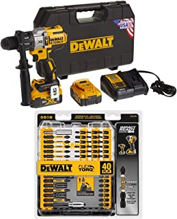 DEWALT DCD996P2 20V MAX XR Lithium Ion Brushless 3-Speed Hammer Drill Kit with DEWALT DWA2T40IR IMPACT READY FlexTorq Scre...