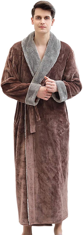 Pajamas for Men Long Sleeve v-Neck Warm Cozy Soft Loose Plush Long Bathrobes for Men Pockets Plush Autumn Winter Plain Sleeping Wear Loungewear Mens Night Gown Bathrobe Robe,Brown,L