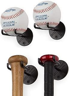 Wallniture Sporta Wall Mount Baseball and Bat Display Memorabilia Holder Collectibles Rack Black Set of 4