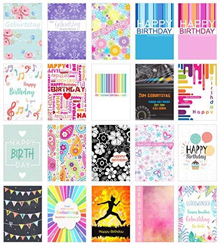 Edition Seidel Set 20 moderne Premium Geburtstagskarten mit Umschlag. Glückwunschkarte Grusskarte zum Geburtstag. Geburtstagskarte Mann Frau (Doppelkarten/Klappkarten mit Briefumschlag)
