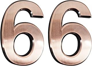 2 Pieces Self-Adhesive House Numbers- 2.75 Inch High Door Address Stickers for Apartment/Mailbox Number, Bronze, Number 6