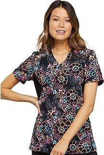 Cherokee Fashion Prints Women's Mock Wrap Knit Panel Floral Print Scrub Top X-Small Print