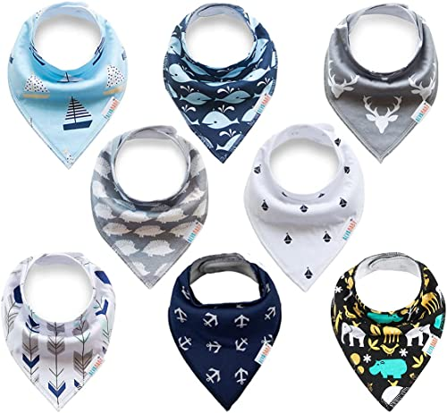 ALVABABY Baby Bandana Drool Bibs 8 Pack of Drooling Teething Feeding Super Absorbent Cotton and Polyester For Boys an...