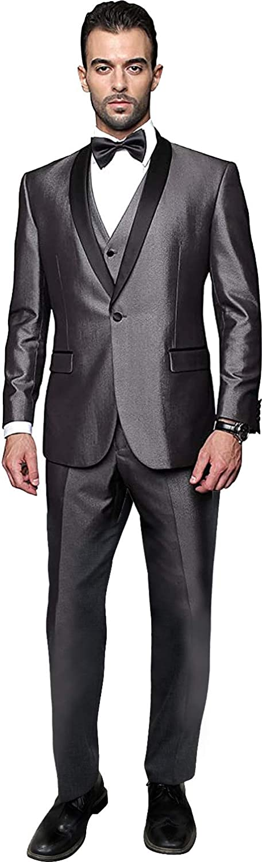 Men's Super 150's Wool 4PC Shiny Charcoal Grey Tuxedo Blazer Suit, Shawl Lapel Single Breasted Jacket, w Vest, Pants & Bow TIE