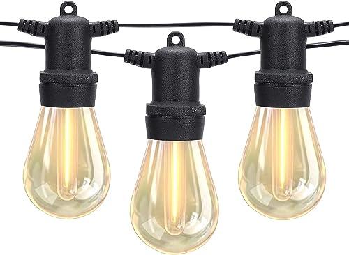 DGE Outdoor LED String Lights 96FT Patio String Light Shatterproof & Waterproof IP65, Décor for Patio, Backyard, Gaze...