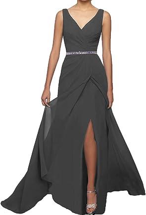 7943f1222c77 QiJunGe Modest Chiffon Long Bridesmaid Dresses with Slit Evening Prom Dress  Green