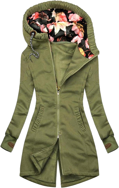 ManxiVoo Zip Up Sweatshirt for Women,Women's Floral Patchwork Hooded Hoodie Long Sleeve Pockets Jacket Coat