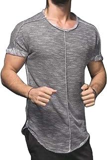 GAGA Men's Hip Hop Longline Curved Hem Solid Color Short Sleeves T-Shirt
