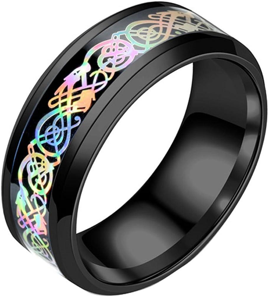 Negro Dragón Celta con anillos para hombres mujeres acero inoxidable Hyun color banda de boda joyería
