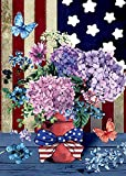 Morigins Patriotic Pansies 12.5 x 18 Inch Decorative Floral America Summer Garden Flag