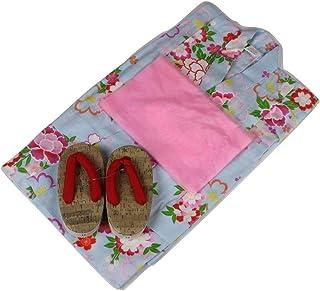 浴衣セット 女の子 ゆかた(桜?雪輪)水色(紅梅織り) 3点セット KWG-2 100/110/120cm
