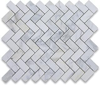 Calacatta Gold Italian Calcutta Marble Herringbone Mosaic Tile 1 x 2 Tumbled